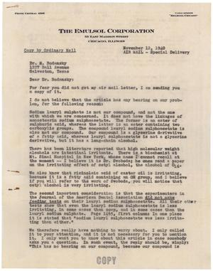 Primary view of object titled '[Letter from Albert K. Epstein to Dr. Meyer Bodansky - November 12, 1940]'.