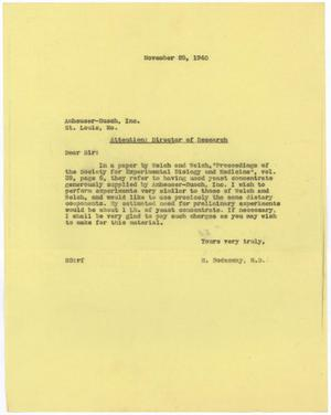 Primary view of object titled '[Letter from Meyer Bodansky to Anheuser-Busch, Inc. - November 25, 1940]'.