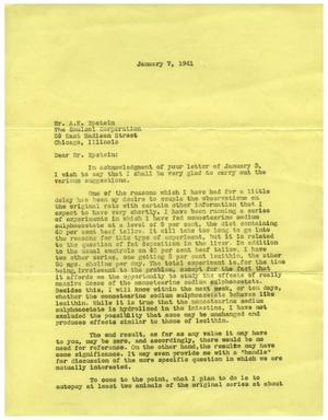 Primary view of object titled '[Letter from Meyer Bodansky to Albert K. Epstein - January 7, 1941]'.