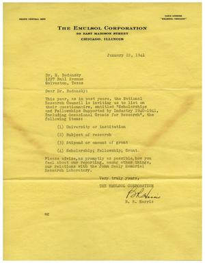 Primary view of object titled '[Letter from Benjamin R. Harris to Dr. Meyer Bodansky - January 22, 1941]'.