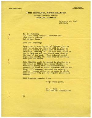 Primary view of object titled '[Letter from The Emulsol Corporation to Dr. Meyer Bodansky - February 15, 1941]'.