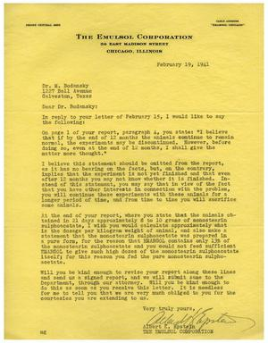 Primary view of object titled '[Letter from The Emulsol Corporation to Dr. Meyer Bodansky - February 19, 1941]'.
