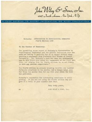 Primary view of object titled '[Letter of Advertisement - 1938]'.