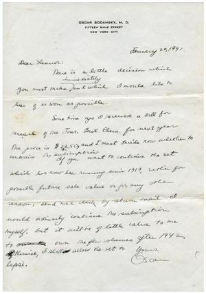 Primary view of object titled '[Letter from Oscar Bodansky to Eleanor Bodansky - January 20, 1942]'.