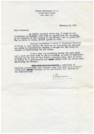 Primary view of object titled '[Letter from Oscar Bodansky to Eleanor Bodansky - February 9, 1942]'.
