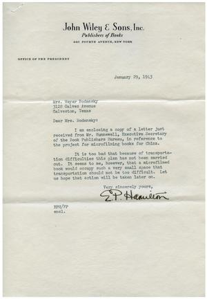 Primary view of object titled '[Letter from E. P. Hamilton to Eleanor Bodansky - January 29, 1943]'.
