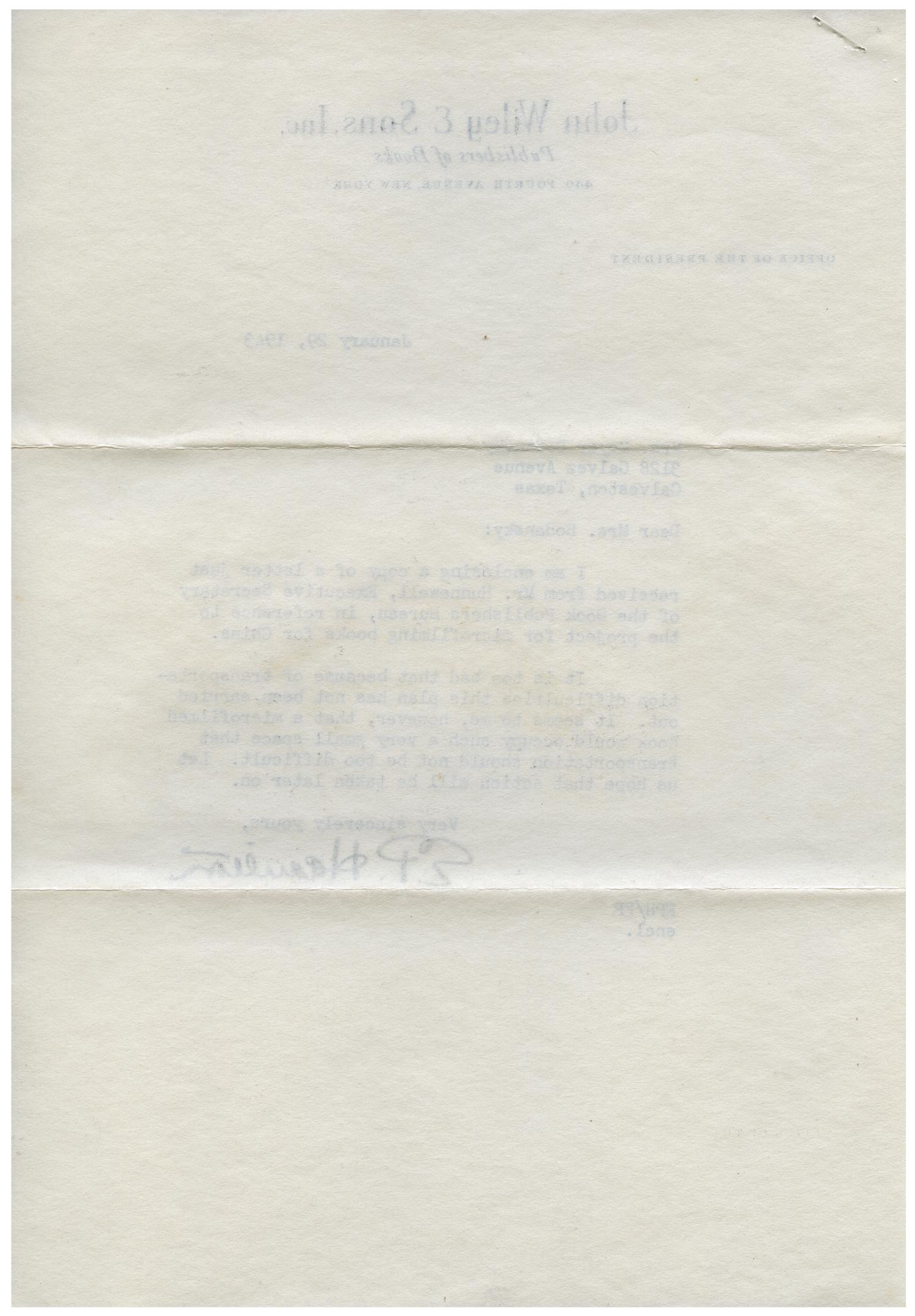 [Letter from E. P. Hamilton to Eleanor Bodansky - January 29, 1943]                                                                                                      [Sequence #]: 2 of 4