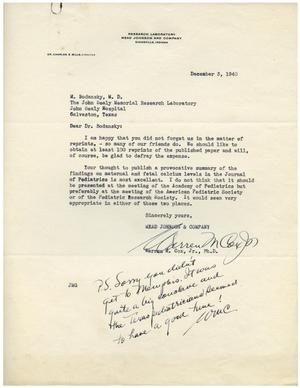Primary view of object titled '[Letter from Warren M. Cox to Dr. Meyer Bodansky - December 3, 1940]'.