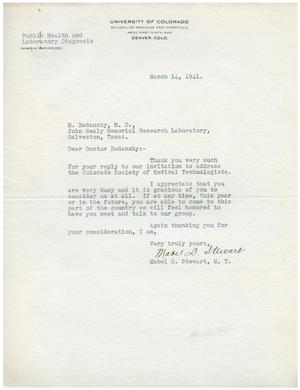 Primary view of object titled '[Letter from Mabel D. Stewart to Dr. Meyer Bodansky - March 14, 1941]'.