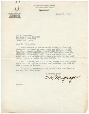 Primary view of object titled '[Letter from E. R. Mugrage to Dr. Meyer Bodansky - March 15, 1941]'.