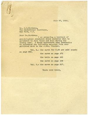 Primary view of object titled '[Correspondence between Meyer Bodansky and Dr. J. H. Northrop - July 27, 1926]'.