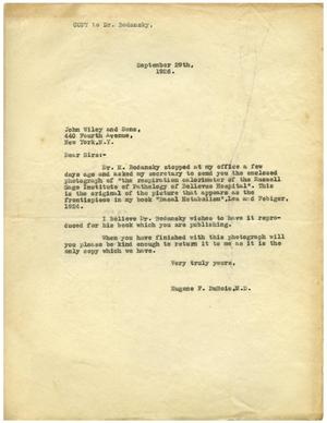 Primary view of object titled '[Letter from Eugene F. DuBois to John Wiley and Sons - September 29, 1926]'.