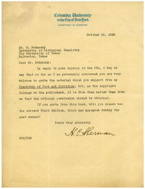 Primary view of object titled '[Letter from H. C. Sherman to Dr. Meyer Bodansky - October 16, 1926]'.