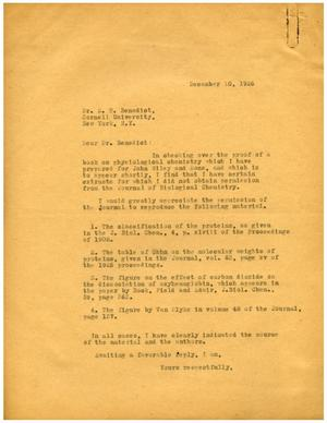 Primary view of object titled '[Letters between Dr. Meyer Bodansky and Stanley R. Benedict - December 1926]'.