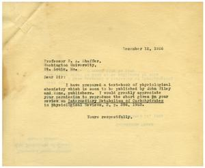 Primary view of object titled '[Correspondence between Meyer Bodansky and P. A. Shaffer - December 1926]'.