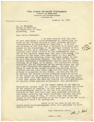 [Letter from John J. Abel to Dr. Meyer Bodansky - January 14, 1930]