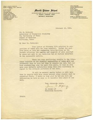 Primary view of object titled '[Letter from Merrill-Palmer School to Dr. Meyer Bodansky - February 18, 1930]'.