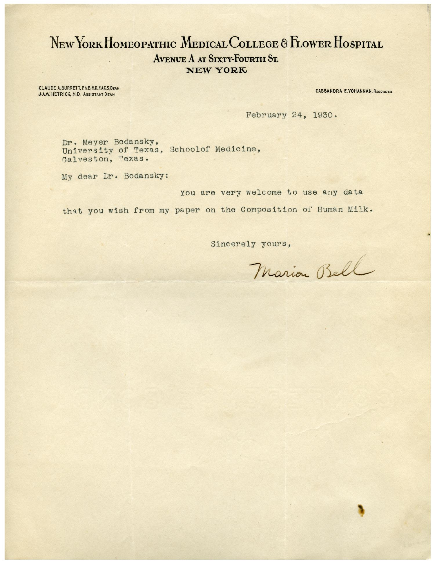 Letter from the new york medical college and flower hospital to dr letter from the new york medical college and flower hospital to dr meyer bodansky february 24 1930 the portal to texas history mitanshu Gallery