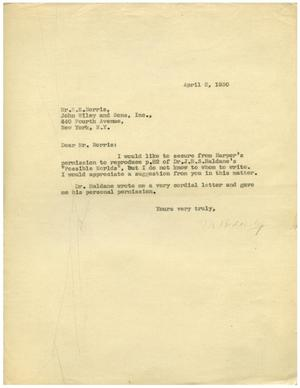 Primary view of object titled '[Letter from Meyer Bodansky S. E. Norris - April 2, 1930]'.