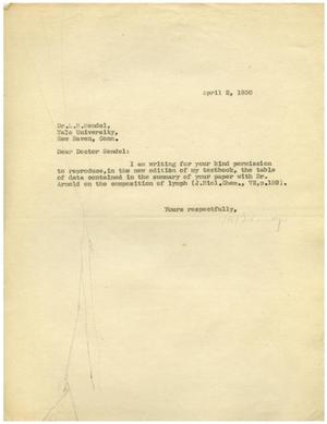 Primary view of object titled '[Letter from C. R. Hamilton to Dr. Meyer Bodansky - February 11, 1930]'.