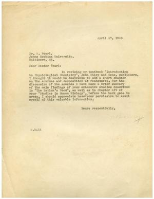 Primary view of object titled '[Letter from Meyer Bodansky to Dr. R. Pearl - April 17, 1930]'.