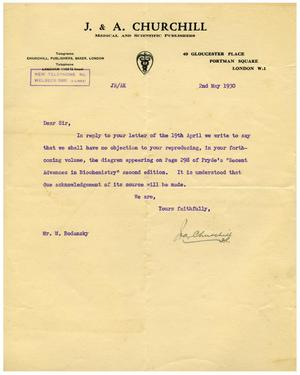 Primary view of object titled '[Letter from J. and A. Churchill Publishers to Dr. Meyer Bodansky - May 2, 1930]'.