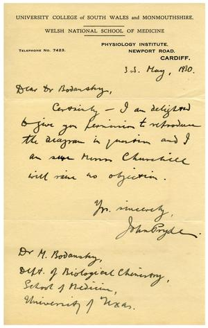 Primary view of object titled '[Letter to Dr. Meyer Bodansky from the Welsh National School of Medicine - May 3, 1930]'.