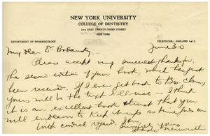Primary view of object titled '[Letter from New York University's College of Dentistry to Dr. Meyer Bodansky - June 30, 1930]'.