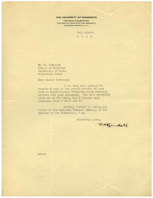 Primary view of object titled '[Letter from the Mayo Foundation for Medical and Education Research to Meyer Bodansky - July 8, 1930]'.