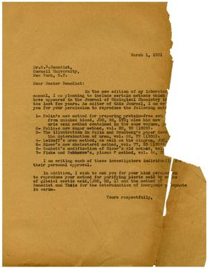Primary view of object titled '[Letter from Meyer Bodansky to Dr. Stanley R. Benedict - March 1, 1931]'.