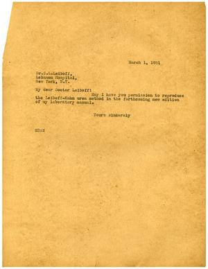 Primary view of object titled '[Letter from Meyer Bodansky to Dr. S. L. Leiboff - March 1, 1931]'.