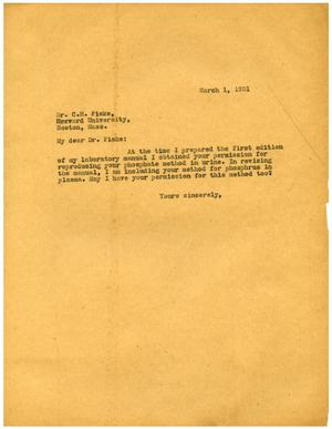 Primary view of object titled '[Letter from Meyer Bodansky to Dr. C. H. Fiske - March 1, 1931]'.