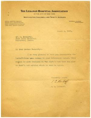 Primary view of object titled '[Letter from S. L. Leiboff to Dr. Meyer Bodansky - March 4, 1931]'.