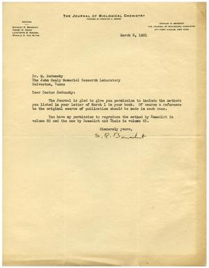 Primary view of object titled '[Letter from Stanley R. Benedict to Dr. Meyer Bodansky - March 5, 1931]'.