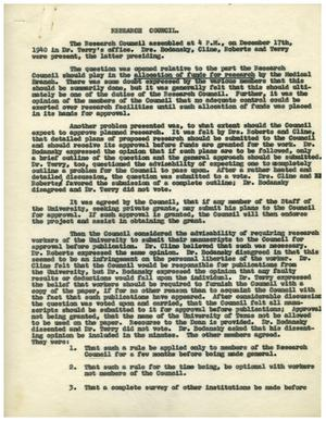 Primary view of object titled '[Minutes for Research Council - December 17, 1940]'.
