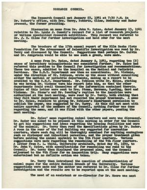 Primary view of object titled '[Minutes for Research Council Meeting - January 23, 1941]'.