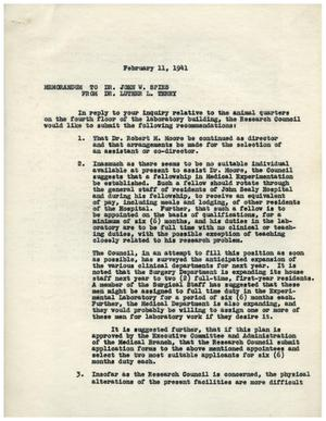 Primary view of object titled '[Memorandum from Research Council to Luther Terry - February 11, 1941]'.