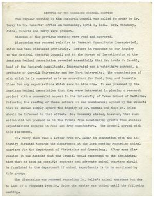 Primary view of object titled '[Minutes for Research Council Meeting - April 9, 1941]'.