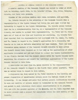 Primary view of object titled '[Minutes for Research Council Special Meeting - April 26, 1941]'.