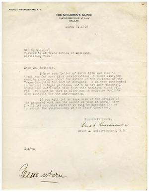 Primary view of object titled '[Letter from Bruce Knickerbocker to Meyer Bodansky - March 21, 1939]'.