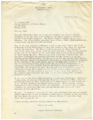 Primary view of object titled '[Letter from William N. Kirshner to Dr. Stanley Cobb - March 26, 1940]'.