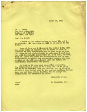 Primary view of object titled '[Letter from Meyer Bodansky to Irving Graef - March 28, 1940]'.