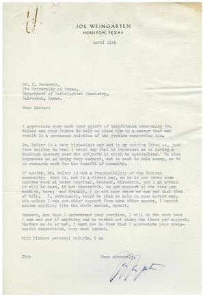 Primary view of object titled '[Letter from Joe Weingarten to Meyer Bodansky - April 11, 1940]'.