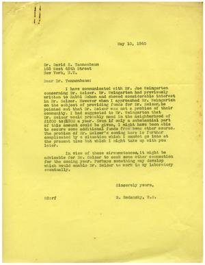 Primary view of object titled '[Correspondence between Dr. Meyer Bodansky and David Tanenbaum - May 1940]'.