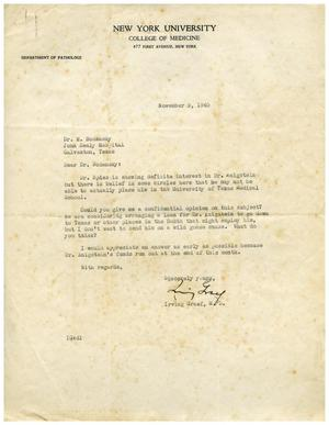 Primary view of object titled '[Letter from Irving Graef to Meyer Bodansky - November 9, 1940]'.