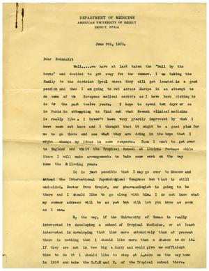 Primary view of object titled '[Letter from Edward Turner to Dr. Meyer Bodansky - June 9, 1935]'.