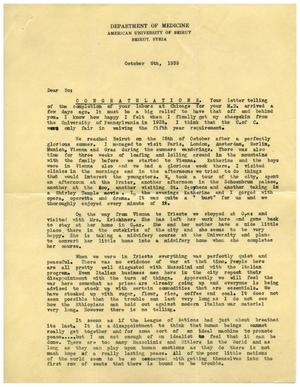 Primary view of object titled '[Letter from Edward Turner to Dr. Meyer Bodansky - October 6, 1935]'.