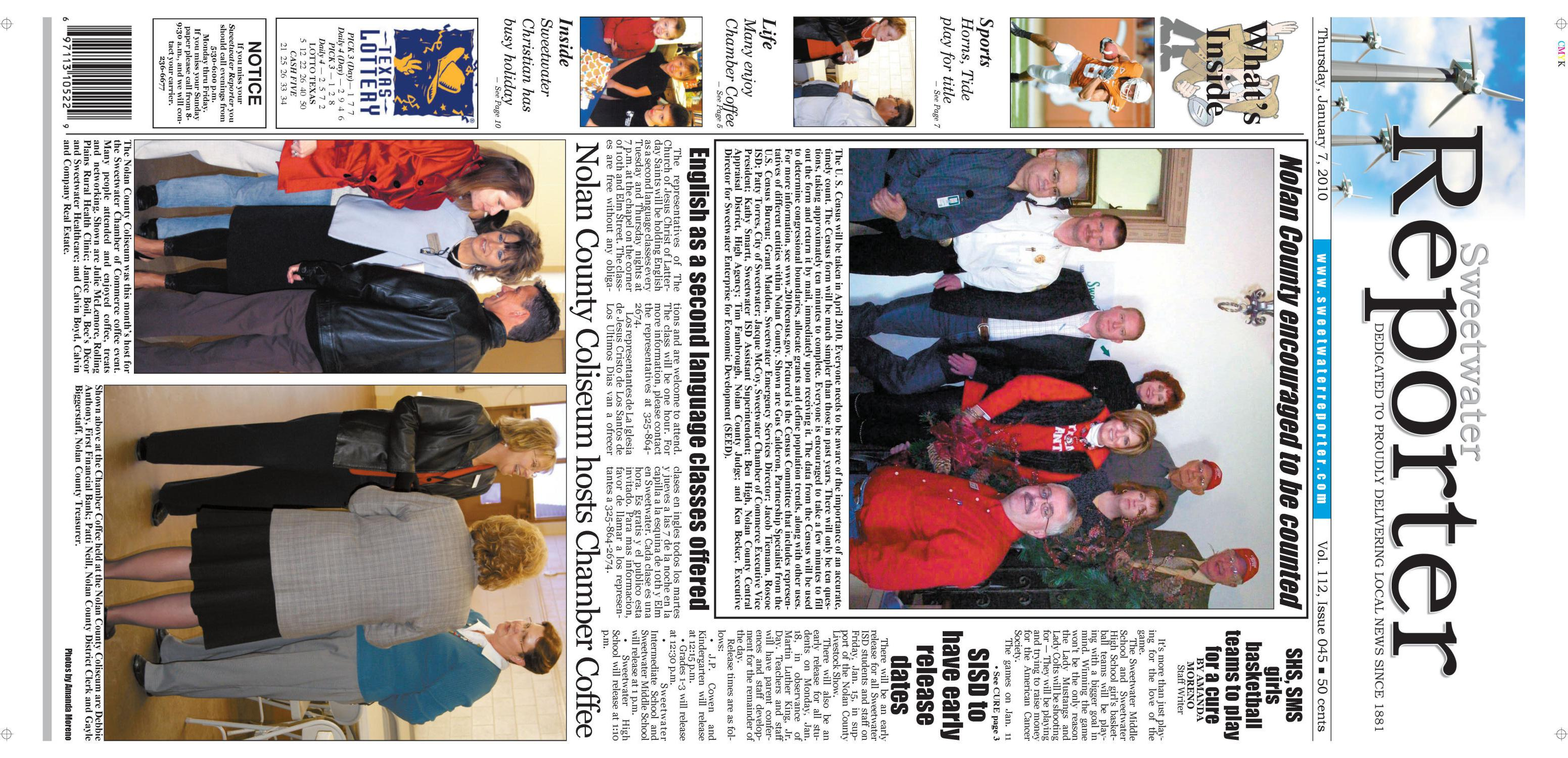 Sweetwater Reporter (Sweetwater, Tex.), Vol. 112, No. 045, Ed. 1 Thursday, January 7, 2010                                                                                                      [Sequence #]: 1 of 10