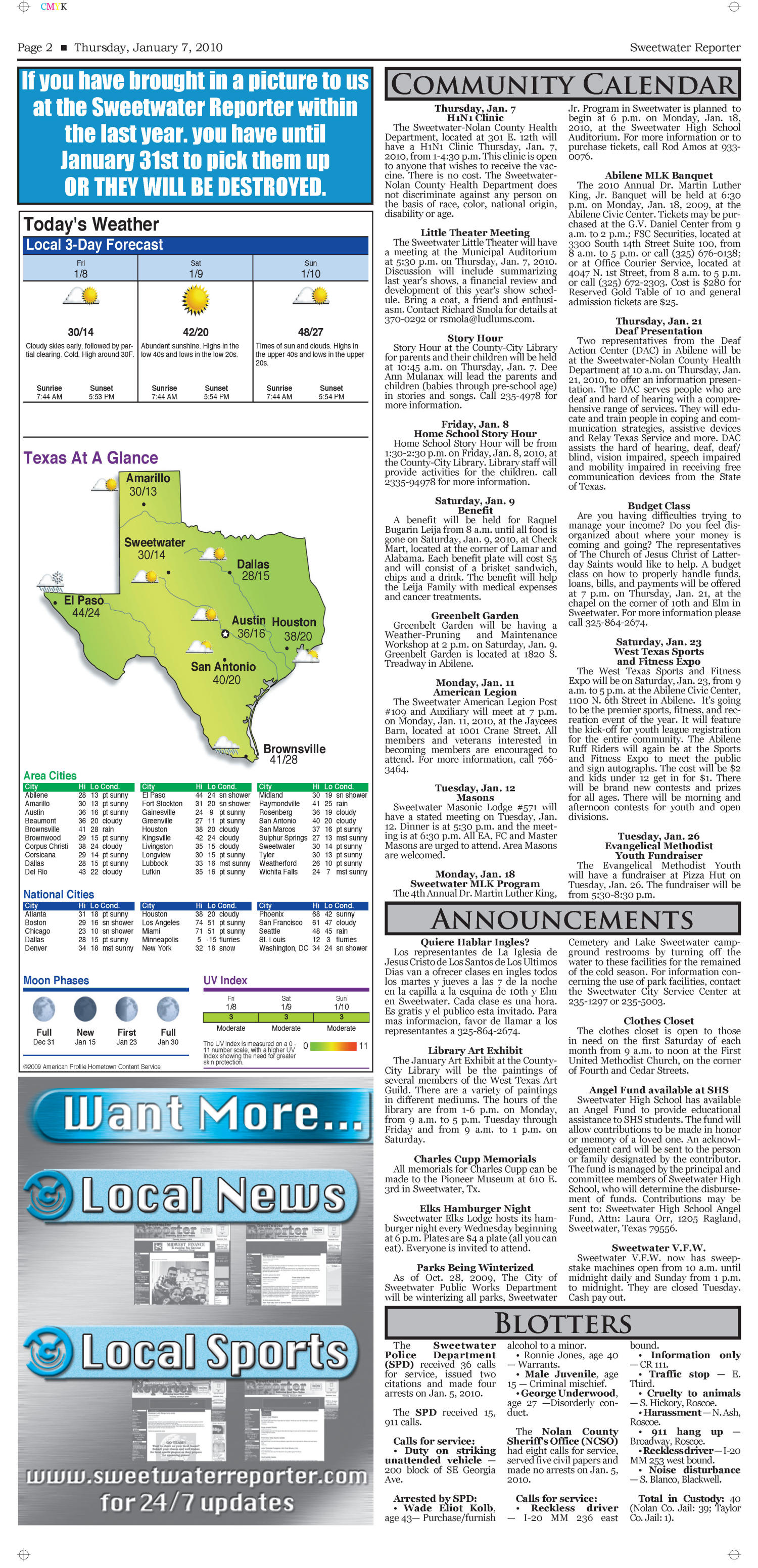 Sweetwater Reporter (Sweetwater, Tex.), Vol. 112, No. 045, Ed. 1 Thursday, January 7, 2010                                                                                                      [Sequence #]: 2 of 10