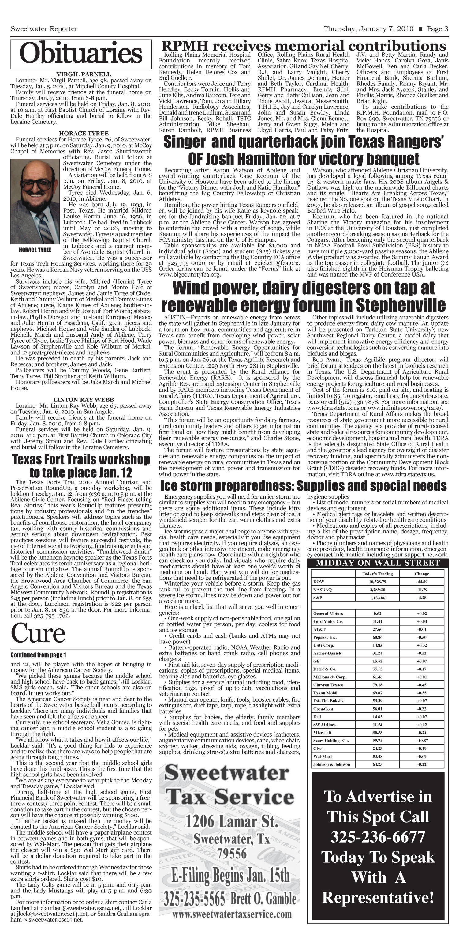 Sweetwater Reporter (Sweetwater, Tex.), Vol. 112, No. 045, Ed. 1 Thursday, January 7, 2010                                                                                                      [Sequence #]: 3 of 10